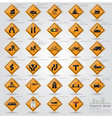 road and street warning traffic sign icons set vector image