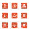 school progress icons set grunge style vector image