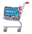 shopping cart shopping trolley with goods vector image vector image