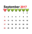 simple calendar 2017 year september month vector image vector image