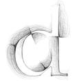 Sketch font Letter d vector image vector image