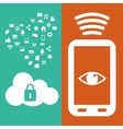 smartphone connection safety cloud data media vector image vector image