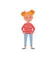 sweet little girl with red hair vector image vector image