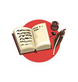 symbols of the writer profession vintage quill vector image