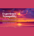 travel banner tranquility rest with sea sunset vector image vector image