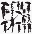 umbrella silhouettes vector image vector image