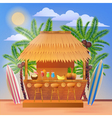 Vacation Banner with Beach Bar and Palm Trees vector image vector image