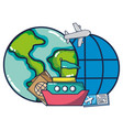 vacation trip cartoon vector image vector image