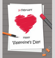 valentines day party with red heart on the paper vector image vector image