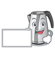 with board electric stainless steel kettle on vector image