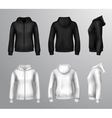 Women Black And White Hooded Sweatshirts vector image