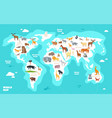 world map with animals earth discovery funny kids vector image vector image