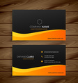 yellow wave business card vector image vector image