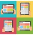 Hands holding digital tablet responsive design vector image