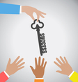 Businessman Giving Key to Success to many hand vector image