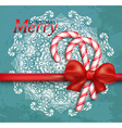 Christmas background with candy and red bow vector image