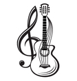 treble clef and guitar vector image