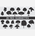 20 tree silhouettes in different shapes vector image vector image