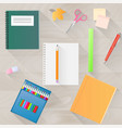 back to school a set of stationery with a long vector image vector image