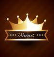 beautiful golden crown design with winner text vector image vector image