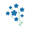 blue flax flowers five petals with a yellow vector image