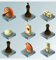 board game color gradient isometric icons vector image vector image