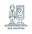 businessman with geo location line icon vector image vector image