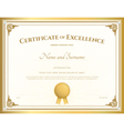 Certificate of excellence template gold theme vector image vector image