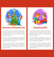 christmas decoration of evergreen tree by people vector image vector image