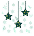 christmas holiday hanging stars vector image vector image