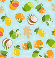 Citrus coconut and ginger seamless pattern on blue vector image