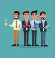 color background full body set of men characters vector image vector image