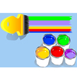 colored paints in blue background vector image vector image