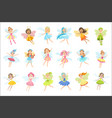 cute fairies in pretty dresses girly cartoon vector image vector image