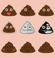 cute poop set icon vector image vector image
