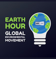 earth hour with bulb and switch turn off on vector image