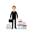 frustrated businessman character standing among vector image