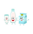 Funny milk characters - bottle glass carton box vector image