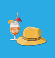 glass cold drink men straw hat vector image vector image