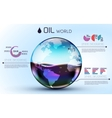 glasses world oil background infographic concept vector image vector image