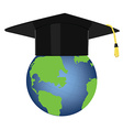Graduation hat on globe vector image vector image