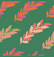 green pink seamless leaves watercolour pattern vector image