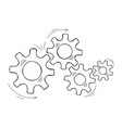 hand drawn mechanical cog and gear sketch graphic vector image vector image