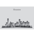 Houston city skyline silhouette in grayscale vector image