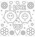 i love you coloring page black and white vector image vector image
