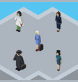 isometric person set of detective hostess doctor vector image vector image