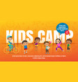 kids camp concept children with many activities vector image