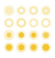 line and silhouettes sun icons collection vector image vector image