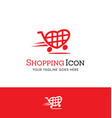 love to shop heart shopping cart logo vector image vector image