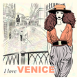 Lovely fashion girl in orange hat in Venice vector image vector image